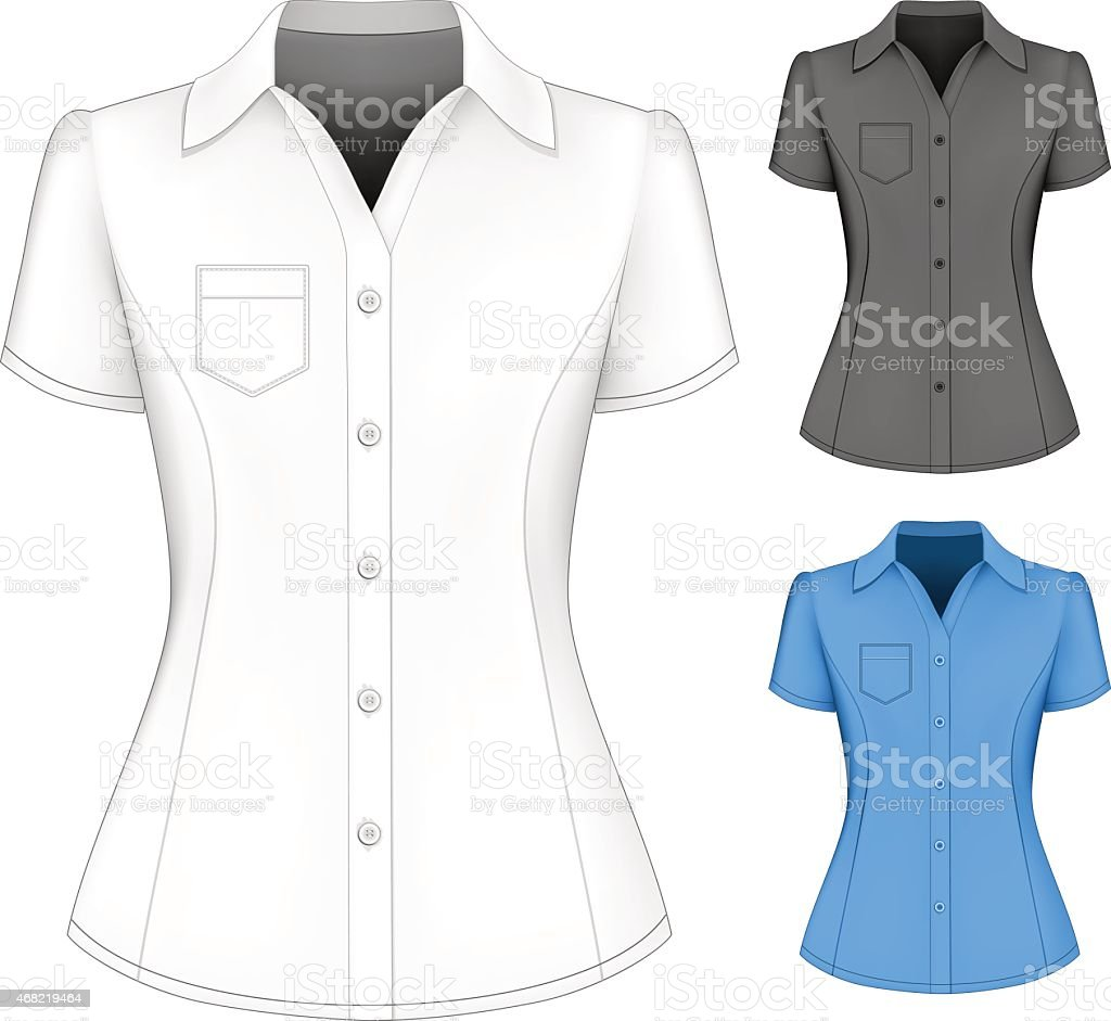 Formal short sleeved blouses for lady. vector art illustration