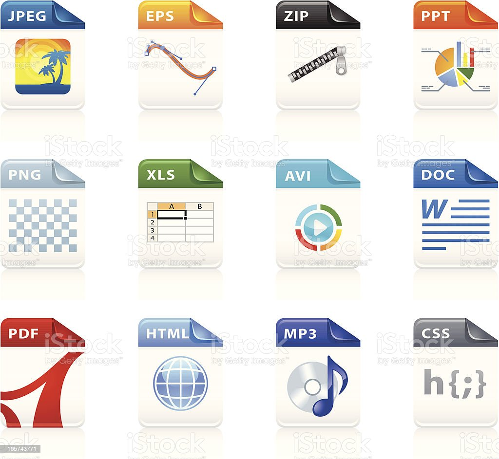 Format File Icons vector art illustration