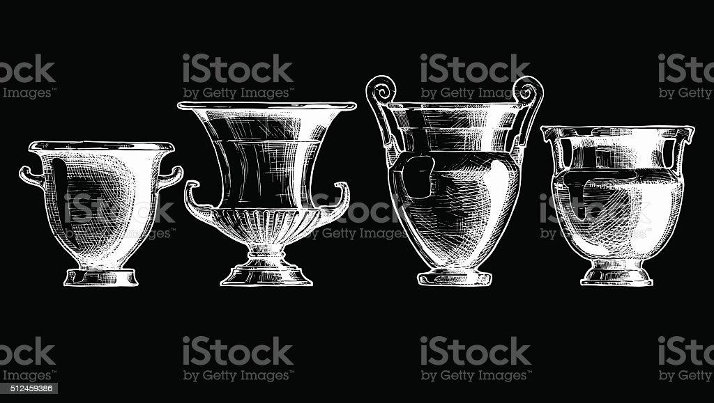 Forms of kraters. Greek vessel shapes. vector art illustration