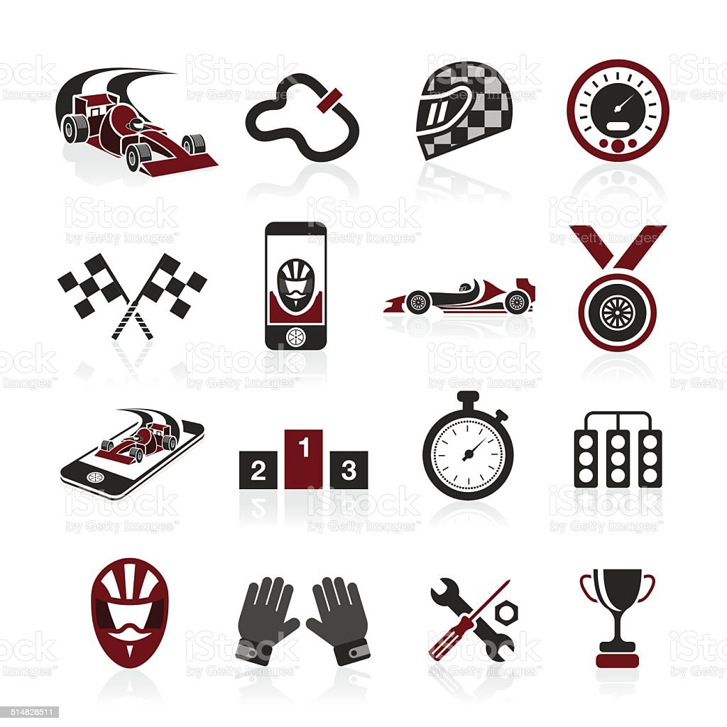 Formula 1 icon set, sport icons and sticker vector art illustration