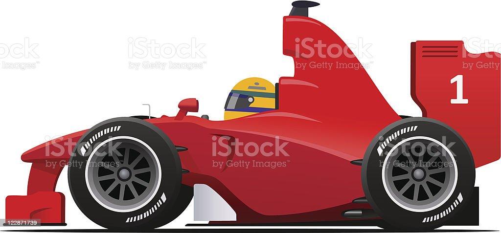 Formula 1 Racecar Red vector art illustration