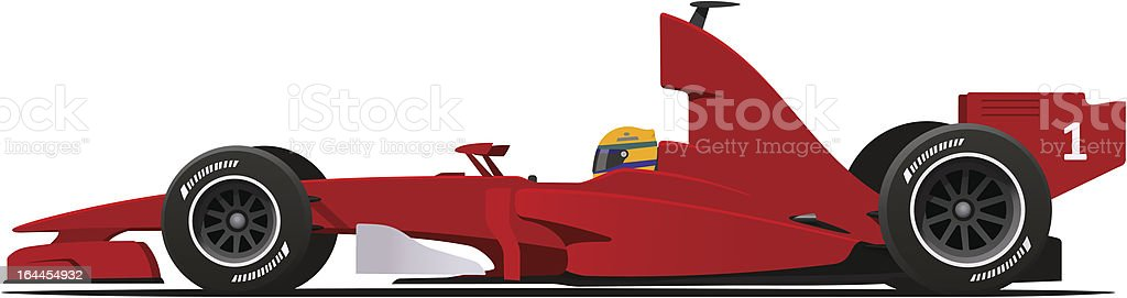 Formula 1 Sport Race Red Car vector art illustration