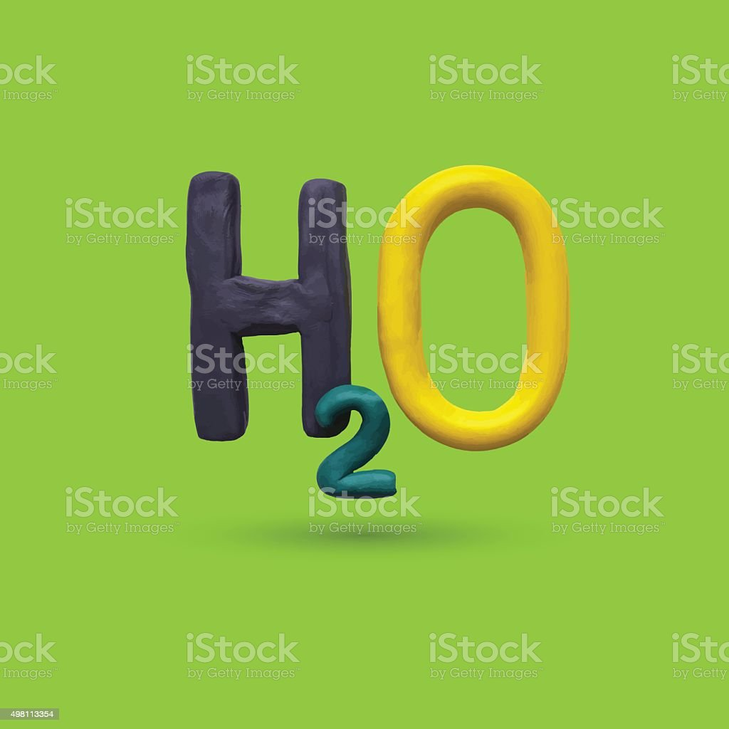 Formula of water H2O vector art illustration
