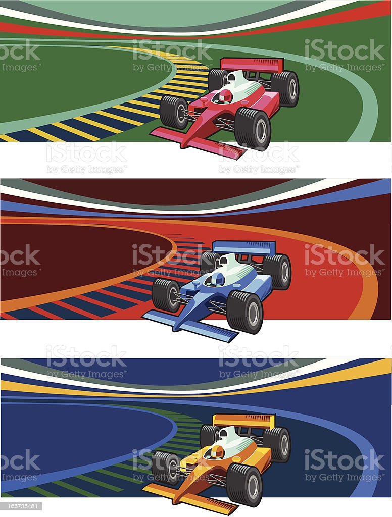Formula one racing cars royalty-free stock vector art