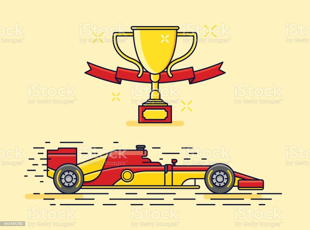 formula racing car vector art illustration