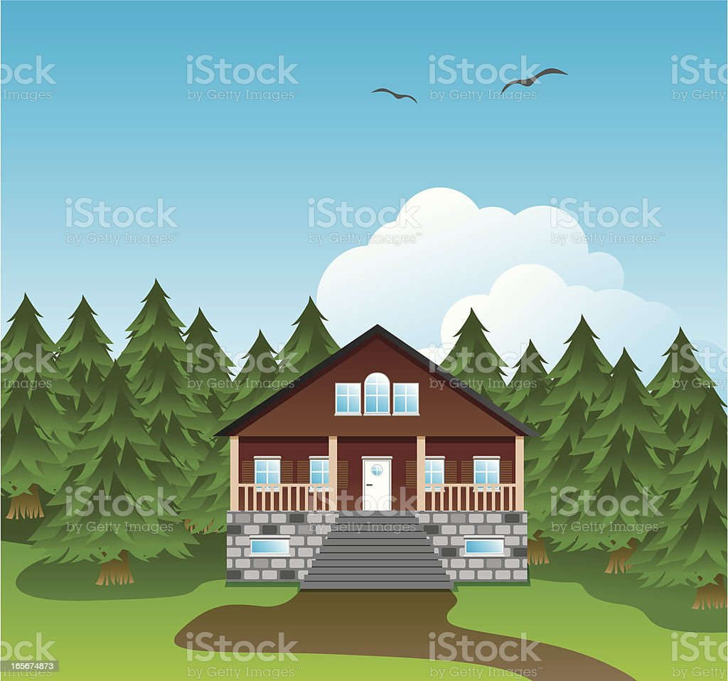 Forrest cabin royalty-free stock vector art