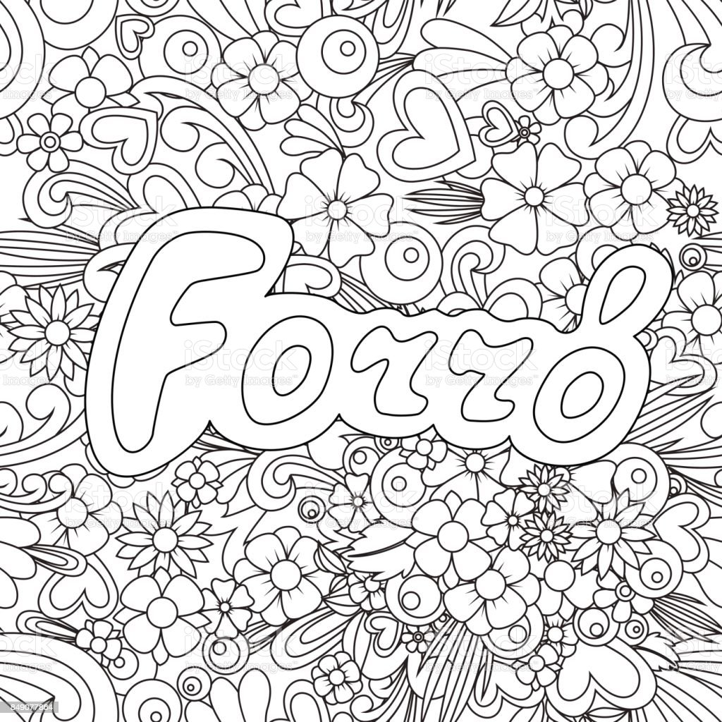 Forro Tangle pattern. Zen Doodle background with flowers and text for the partner dancing. vector art illustration