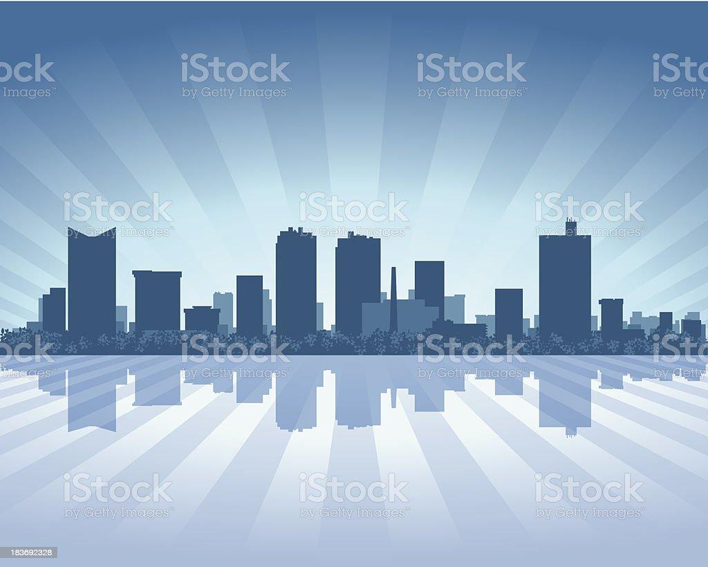 Fort Worth Blue City skyline silhouette vector art illustration