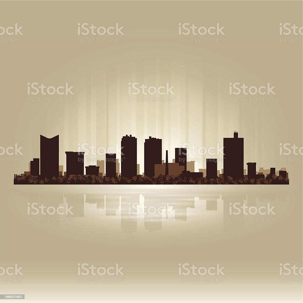 Fort Worth Texas brown skyline city silhouette vector art illustration