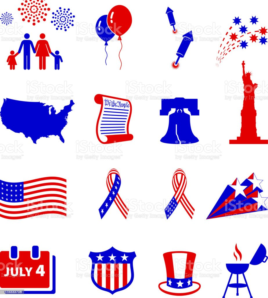 Forth of July celebration royalty free vector icon set vector art illustration
