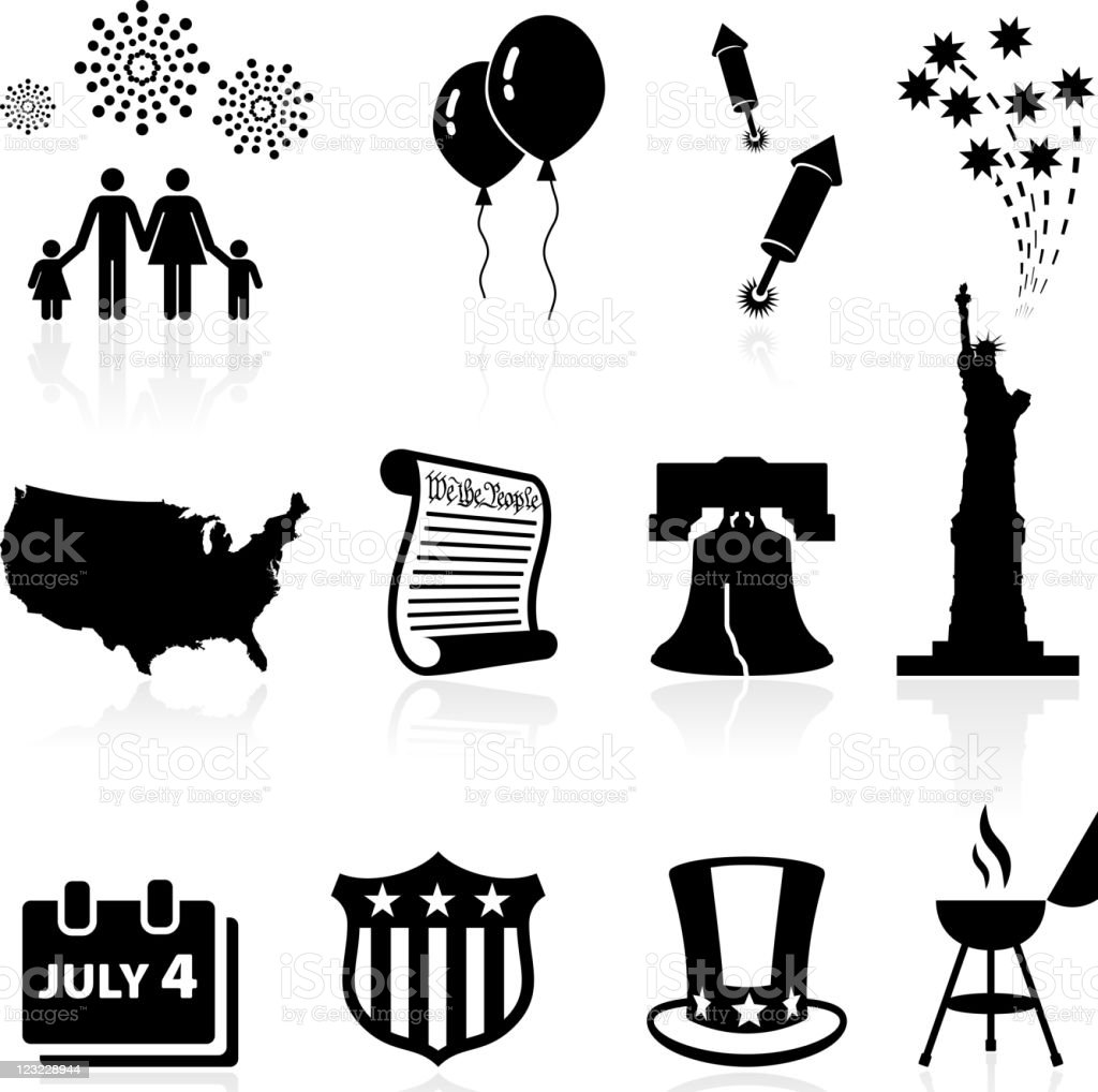 Forth of July Independence day celebration vector icon set vector art illustration