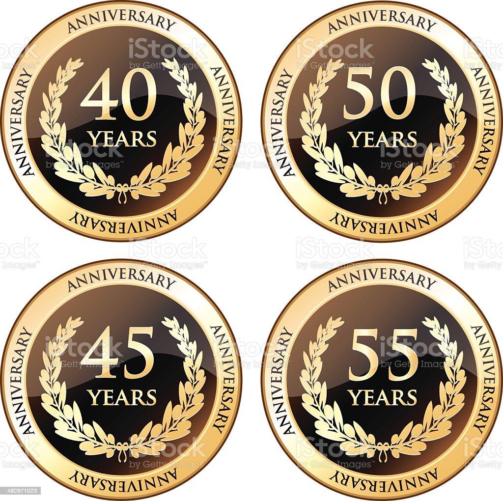 Fortieth And Fiftieth Anniversary Awards vector art illustration