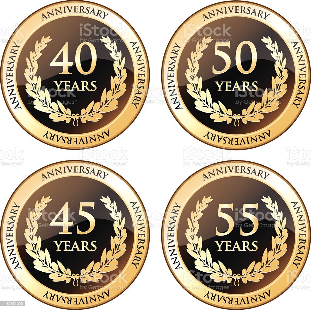 Fortieth And Fiftieth Anniversary Awards vector art illustration