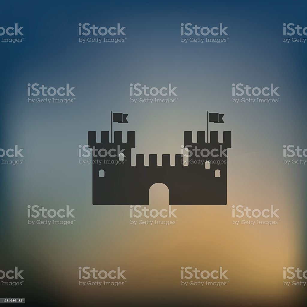 fortress icon on blurred background vector art illustration