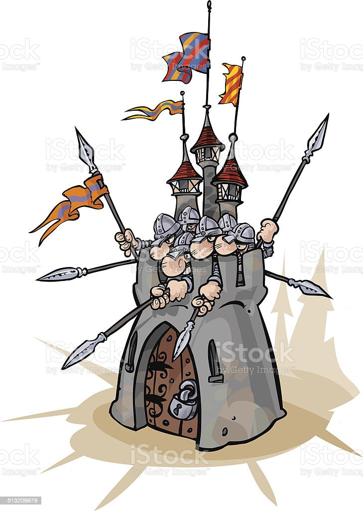 Fortress with defenders. vector art illustration