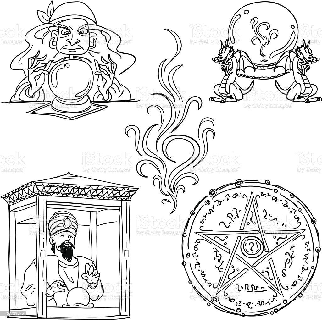 Fortune teller collection in black and white vector art illustration