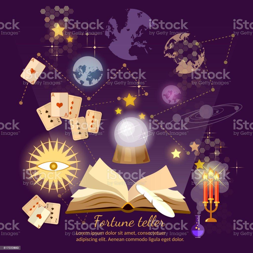 Fortune teller crystal ball magic book astrology signs vector art illustration