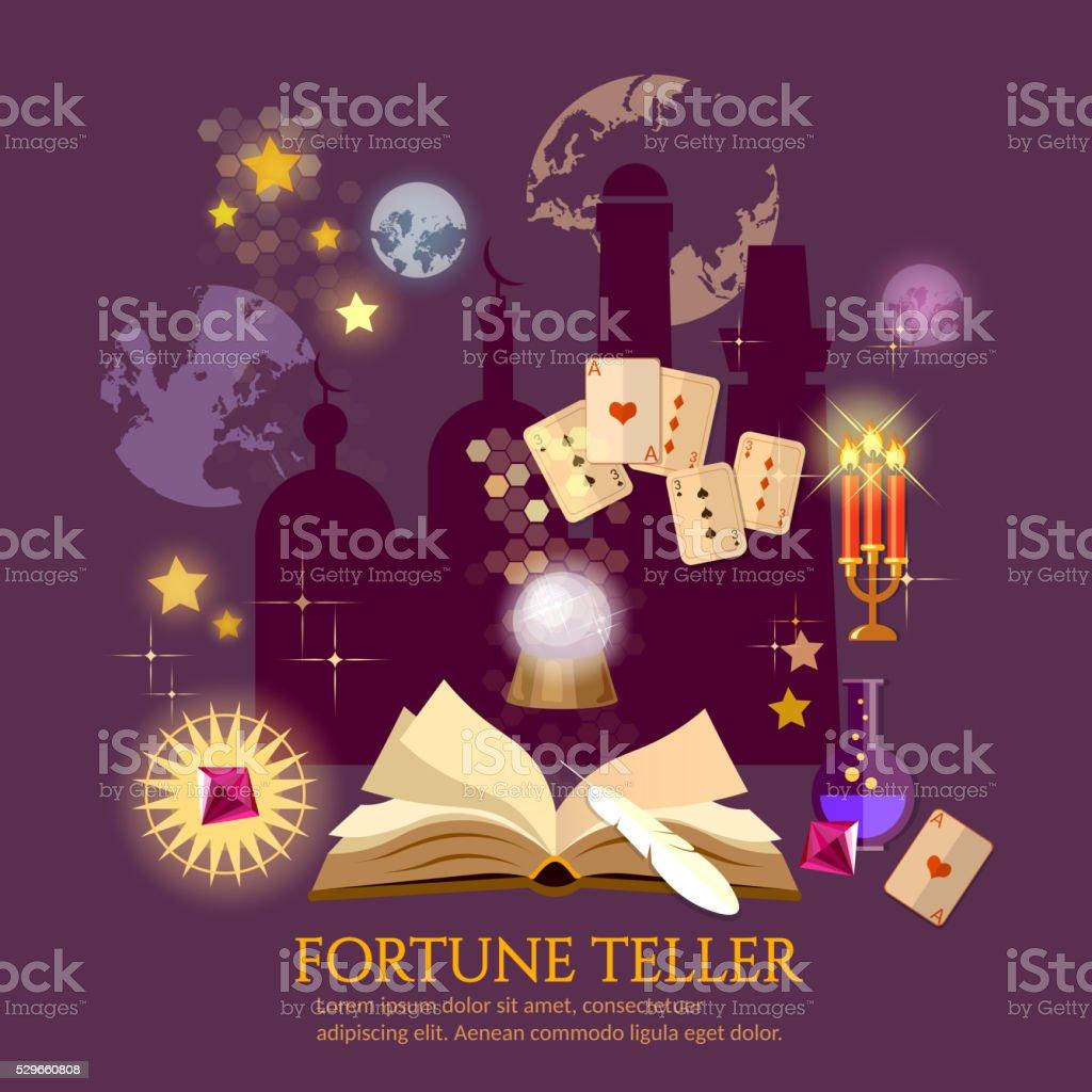 Fortune teller magic book crystal ball astrology signs vector art illustration