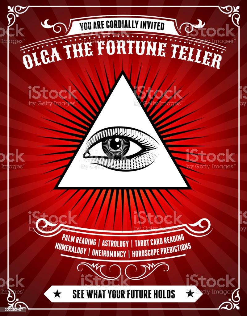 Fortune Teller Poster on Red Background vector art illustration