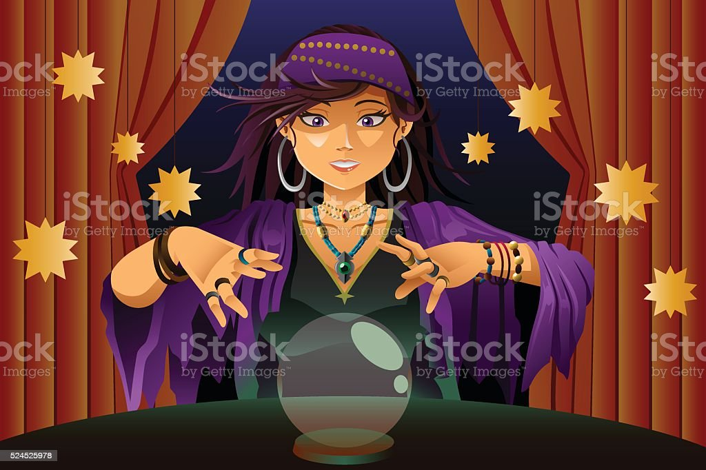 Fortune Teller Reading Crystal Ball vector art illustration
