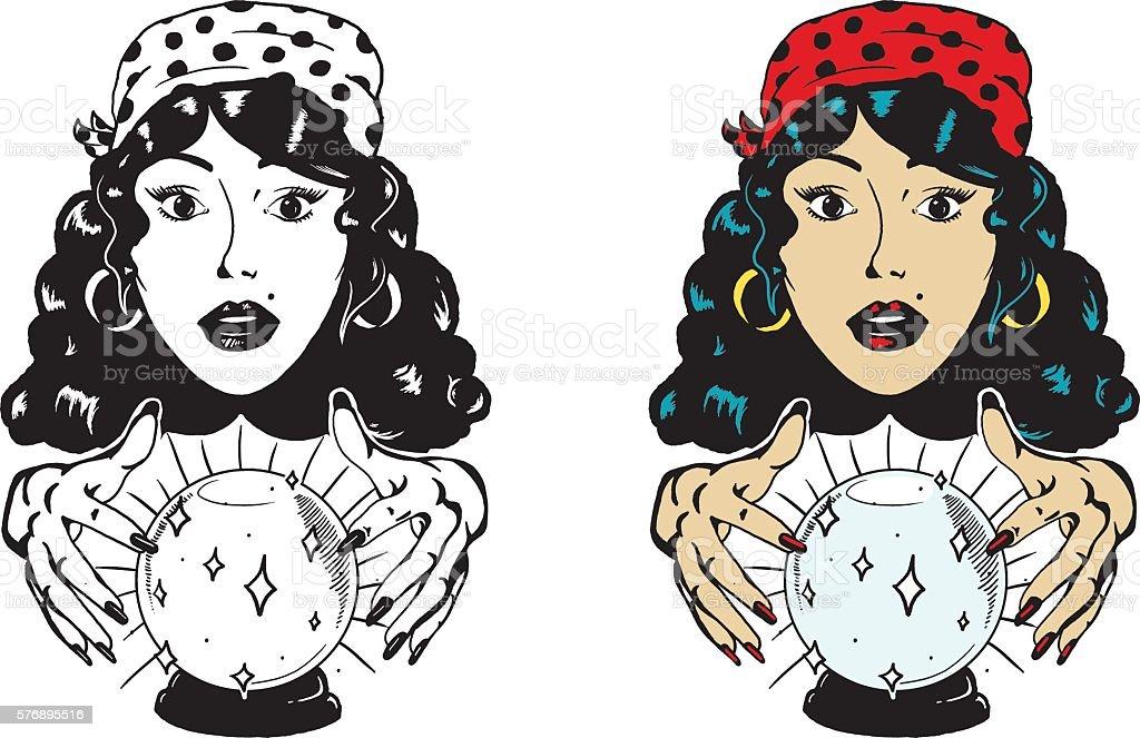 Fortune Teller with Crystal Ball vector art illustration
