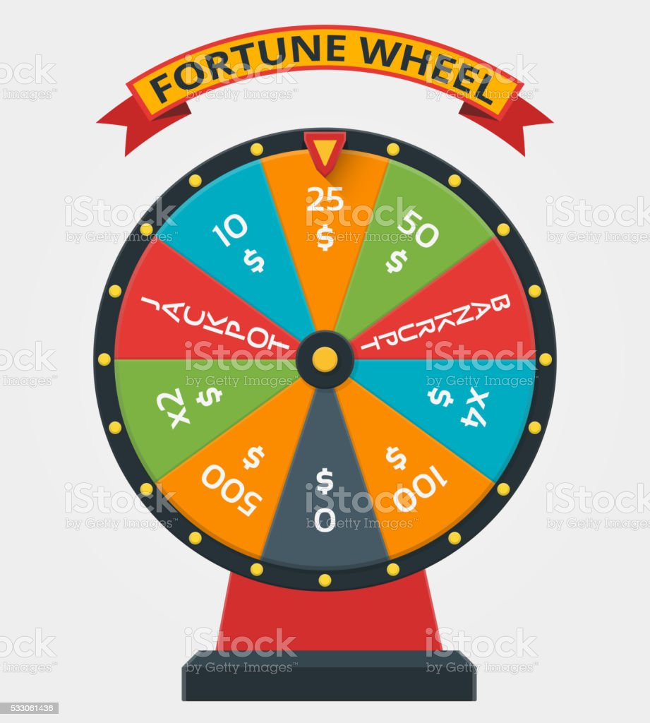 Fortune wheel in flat vector style vector art illustration