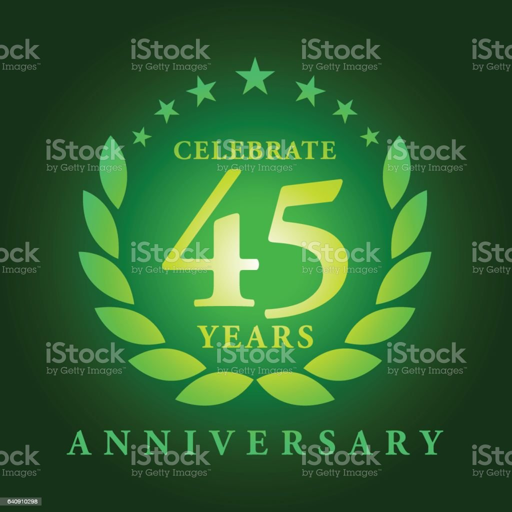 Forty Five Years Anniversary Emblem vector art illustration