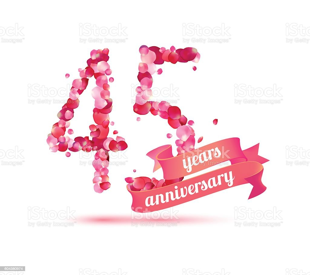 forty five (45) years anniversary vector art illustration