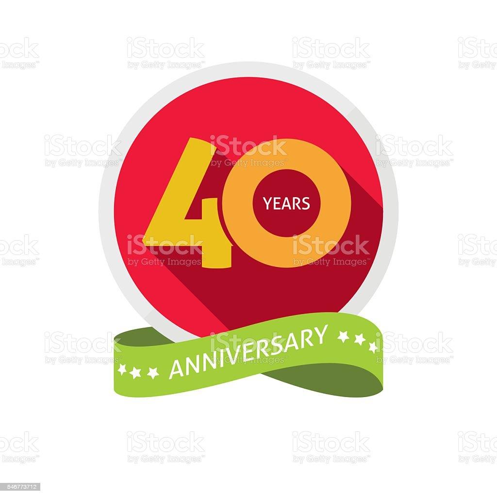 Forty years anniversary logo, 40 year birthday sticker label vector art illustration