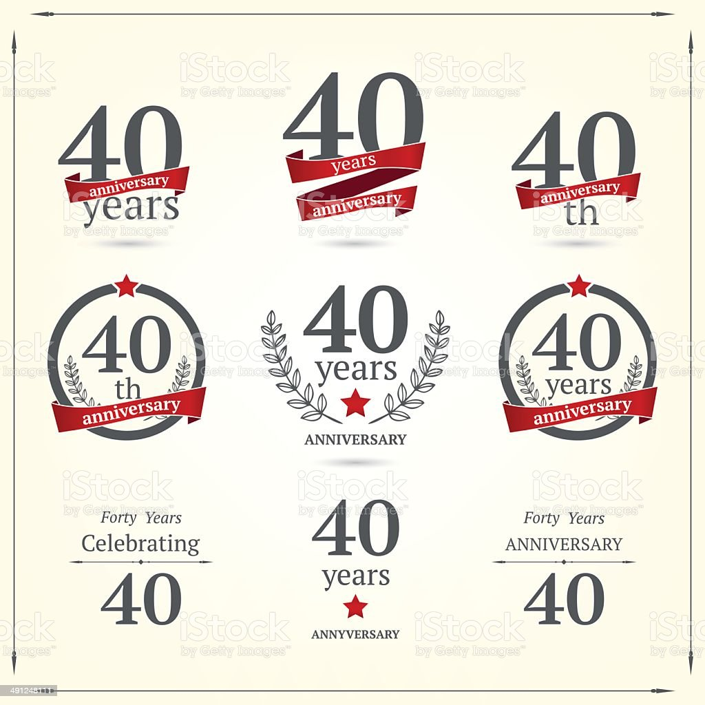 Forty years anniversary set vector art illustration
