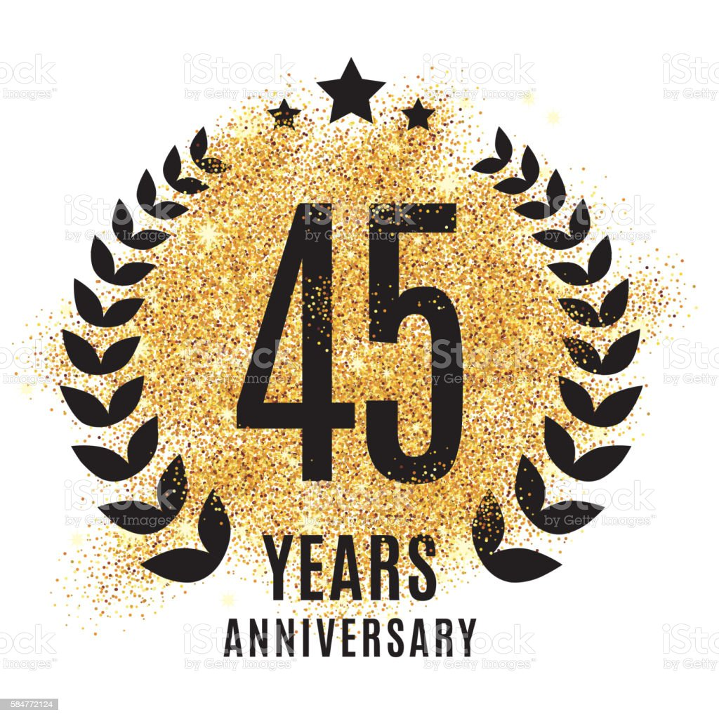 forty-five years gold anniversary. vector art illustration
