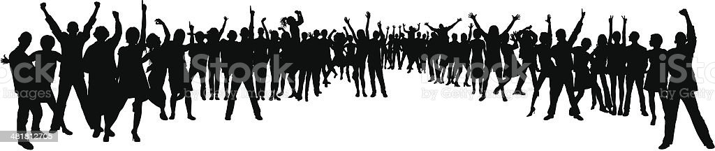 Forty-Nine Highly Detailed People in a Crowd vector art illustration
