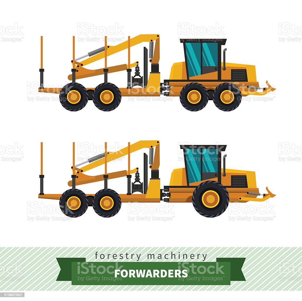 Forwarder forestry vehicle vector art illustration