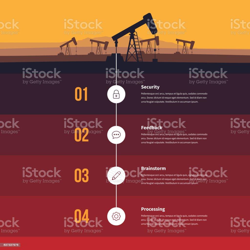 Fossil Energy Infographic vector art illustration