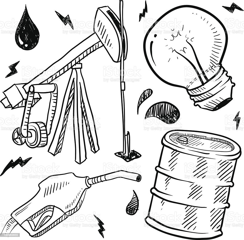 fossil fuels objects vector sketch stock vector art 150963655 istock