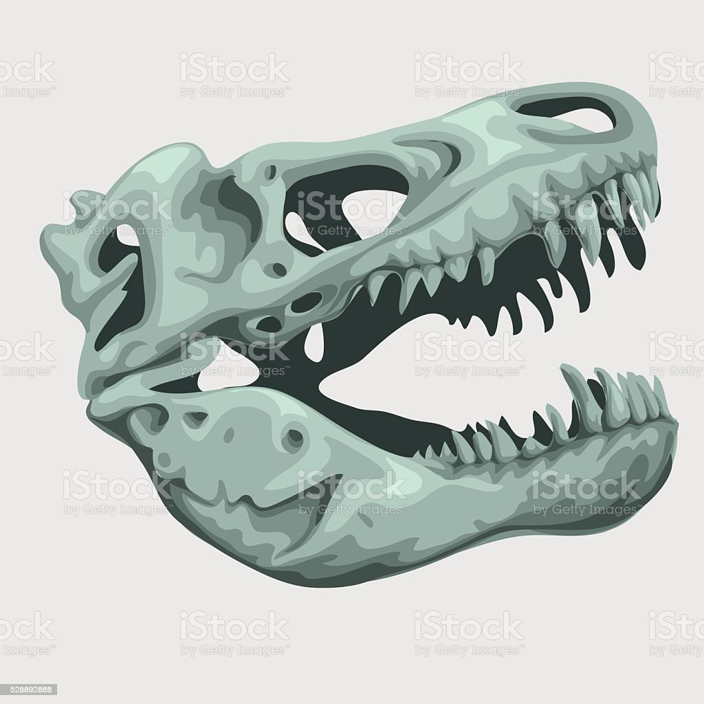 Fossilized head of a giant animal vector art illustration