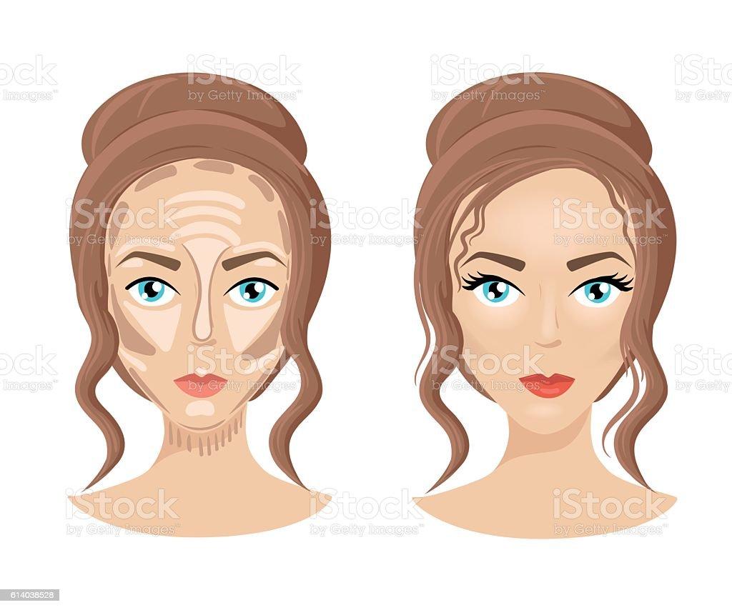 Foundation Concealer Matte Bronzer Make Up Face How To Contour  Royaltyfree Stock Vector