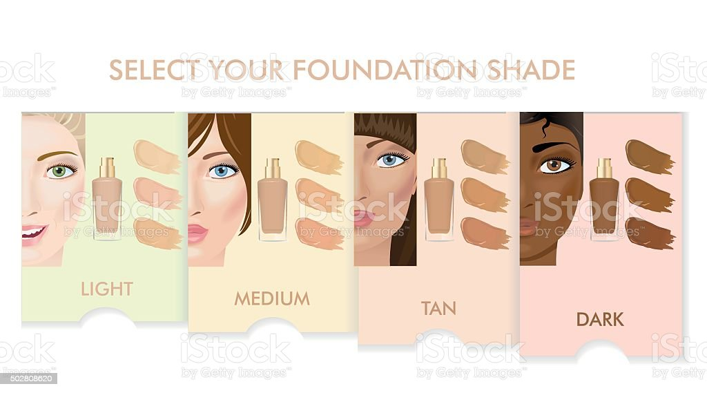 Foundation cream colors set vector art illustration