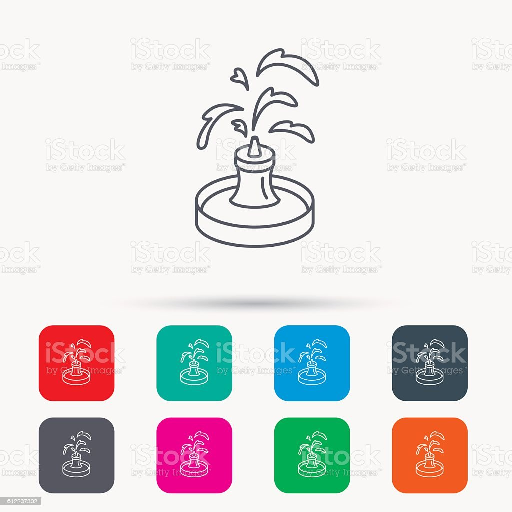Fountain icon. Water in park sign. vector art illustration