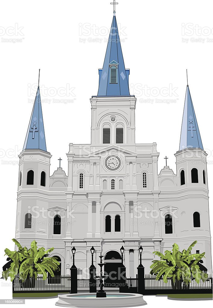 Fountain in front of St Louis Cathedral, New Orleans royalty-free stock vector art