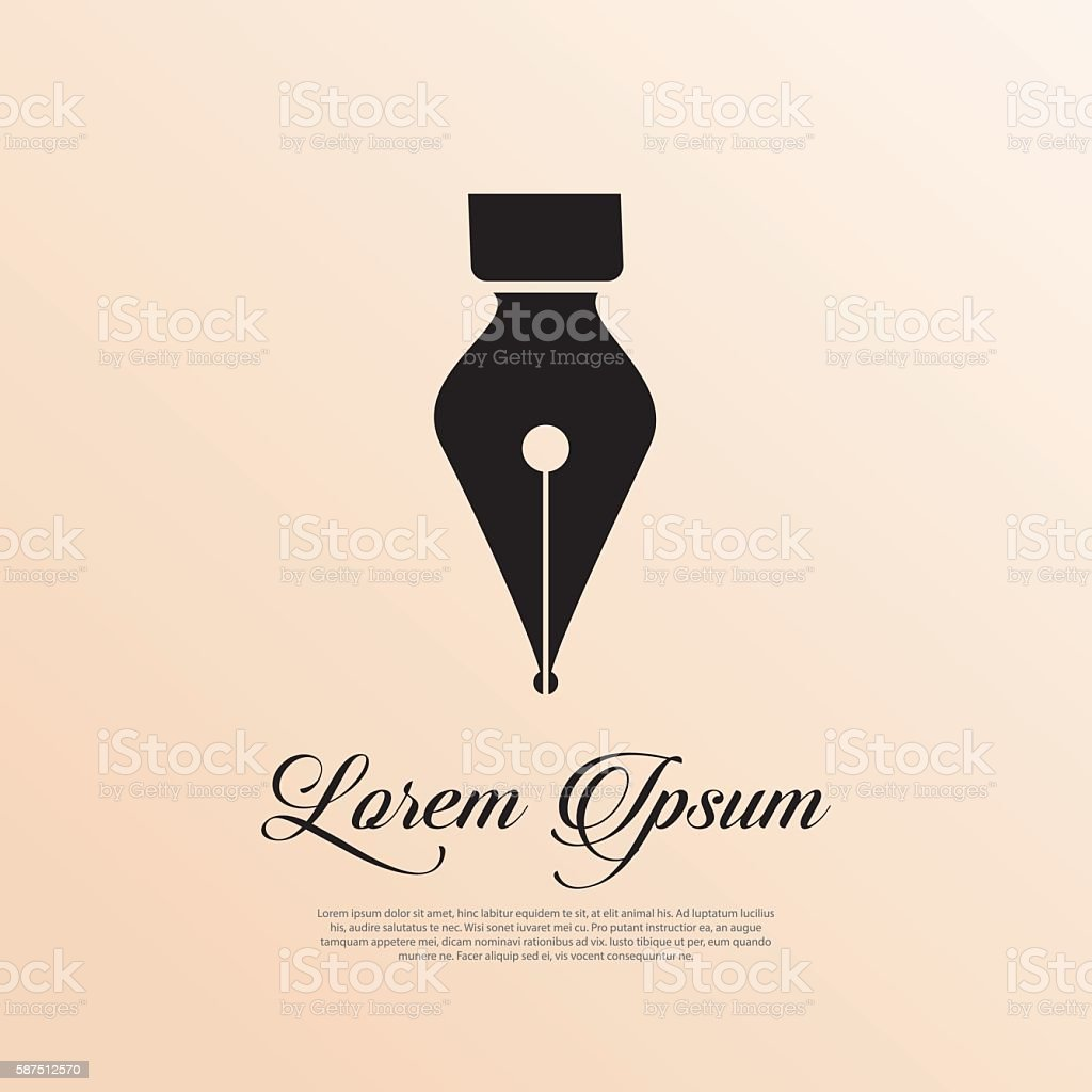 Fountain pen icon vintage style. vector art illustration