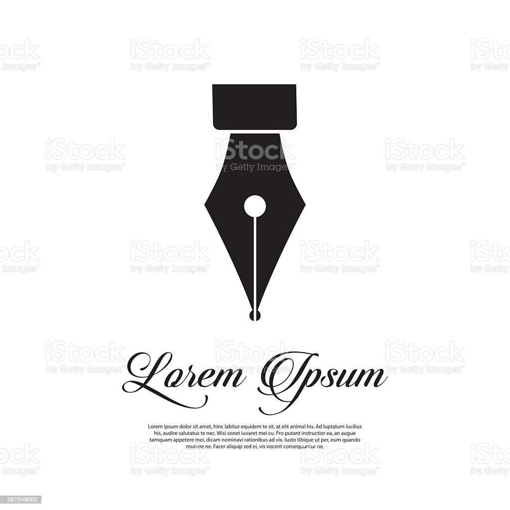 Fountain pen icon vintage style vector art illustration