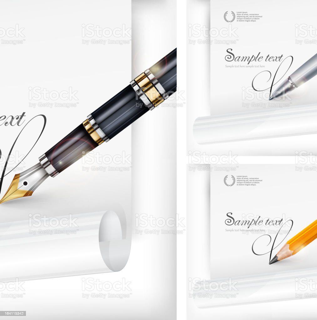 Fountain pen, paper sheet & text royalty-free stock vector art