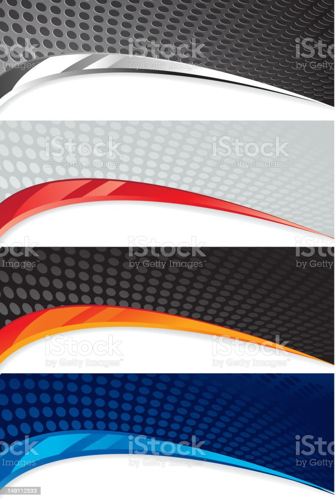 Four abstract banner with circle pattern vector art illustration
