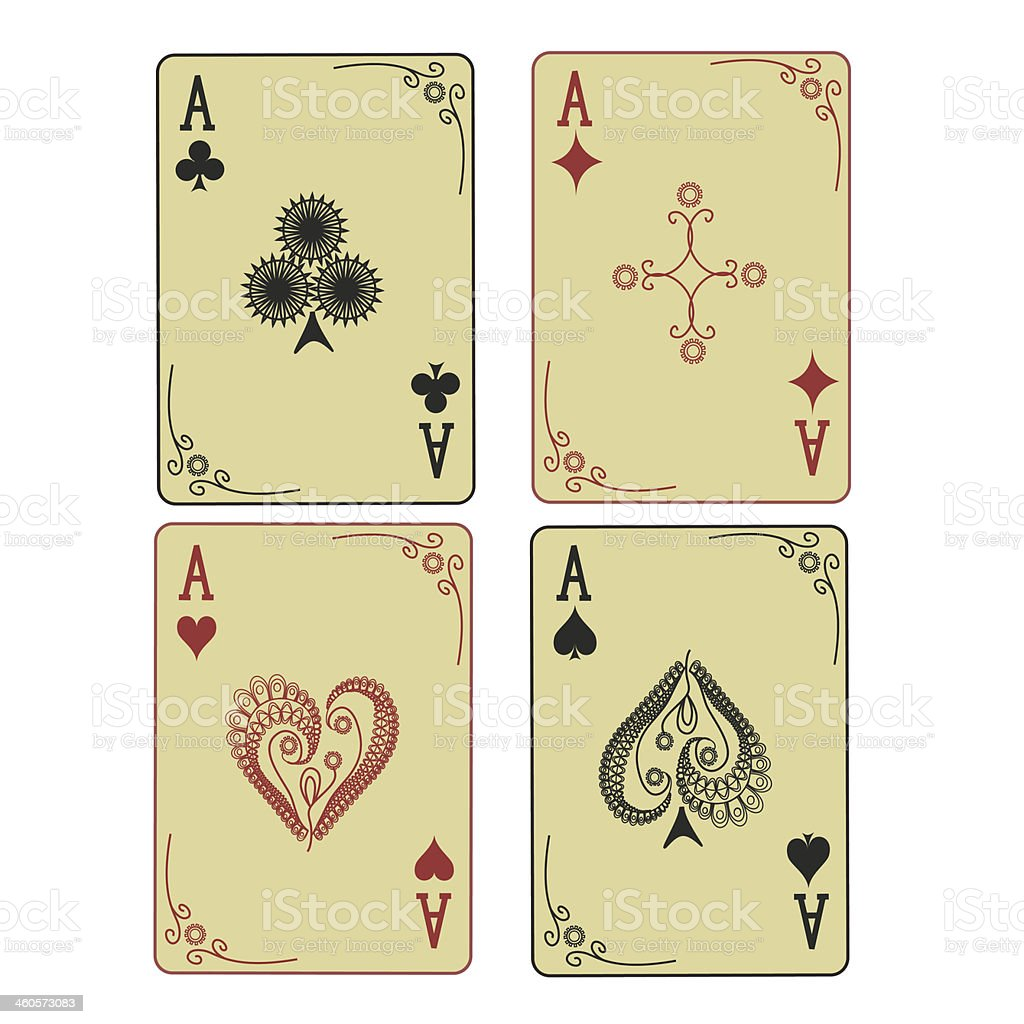 Four Aces of playing cards vector art illustration