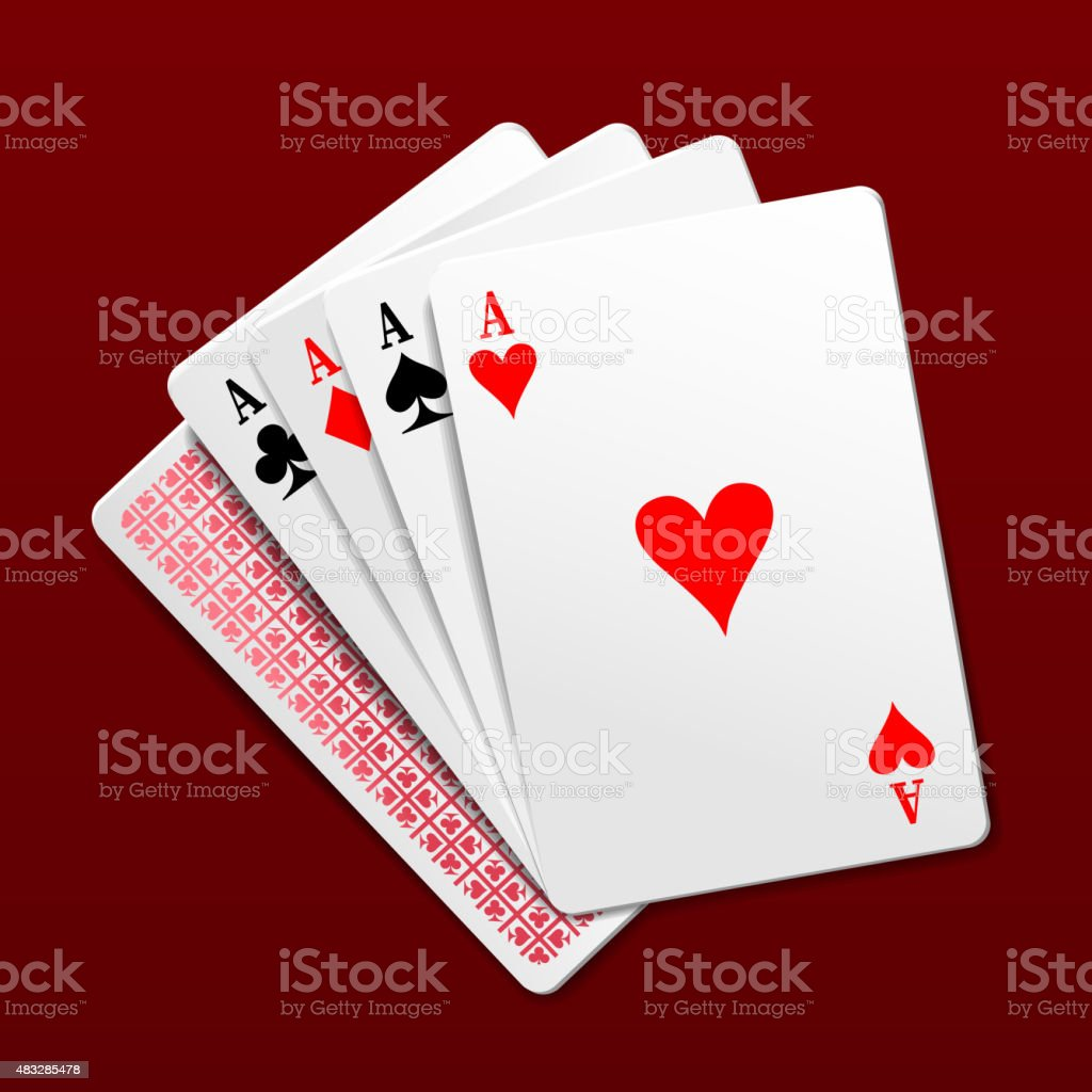 Four aces playing cards. Photorealistic vector illustration vector art illustration
