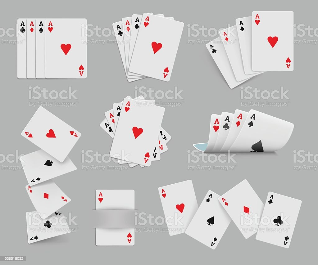 Four aces playing cards set vector art illustration