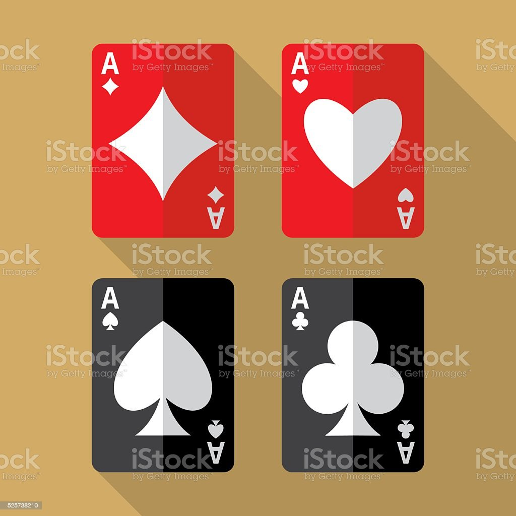 Four aces playing cards vector art illustration