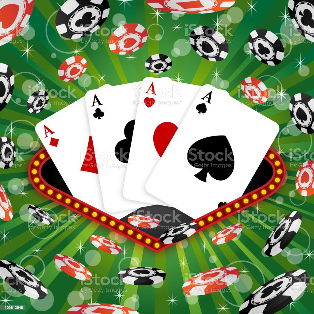 Four Aces Pocker vector art illustration