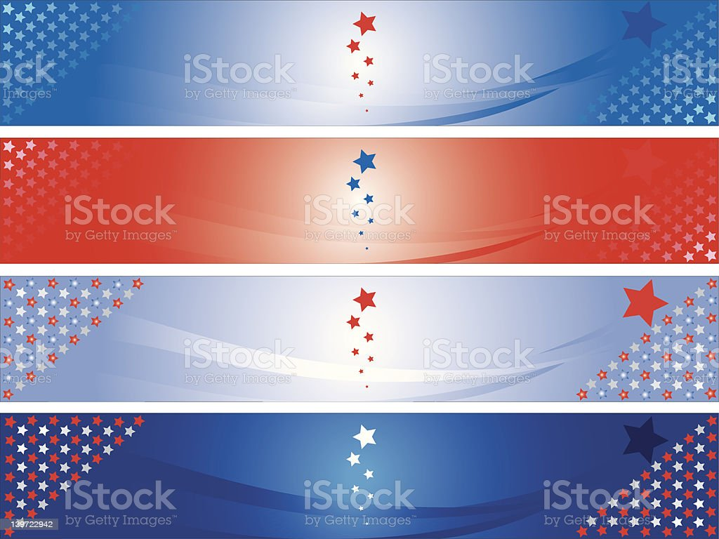 Four American banners vector art illustration